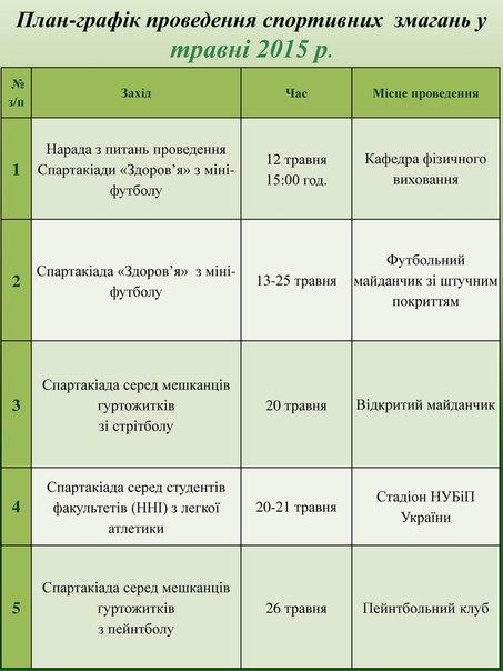график соревнований: